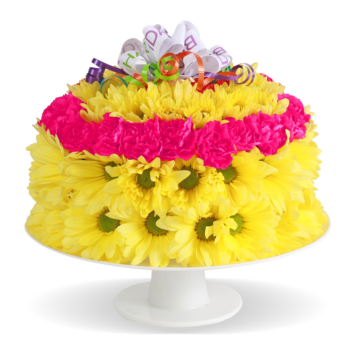 Home Fresh Flower Birthday Cake Columbus OH Florist Flowerama