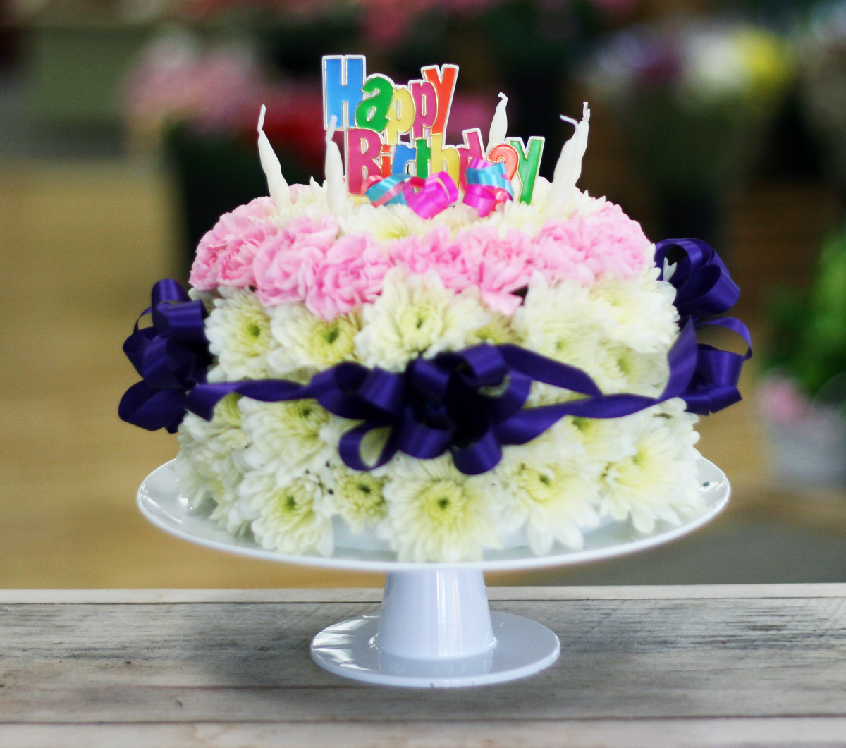 Birthday - Fresh Flower Birthday Cake - Flowerama Columbus ...