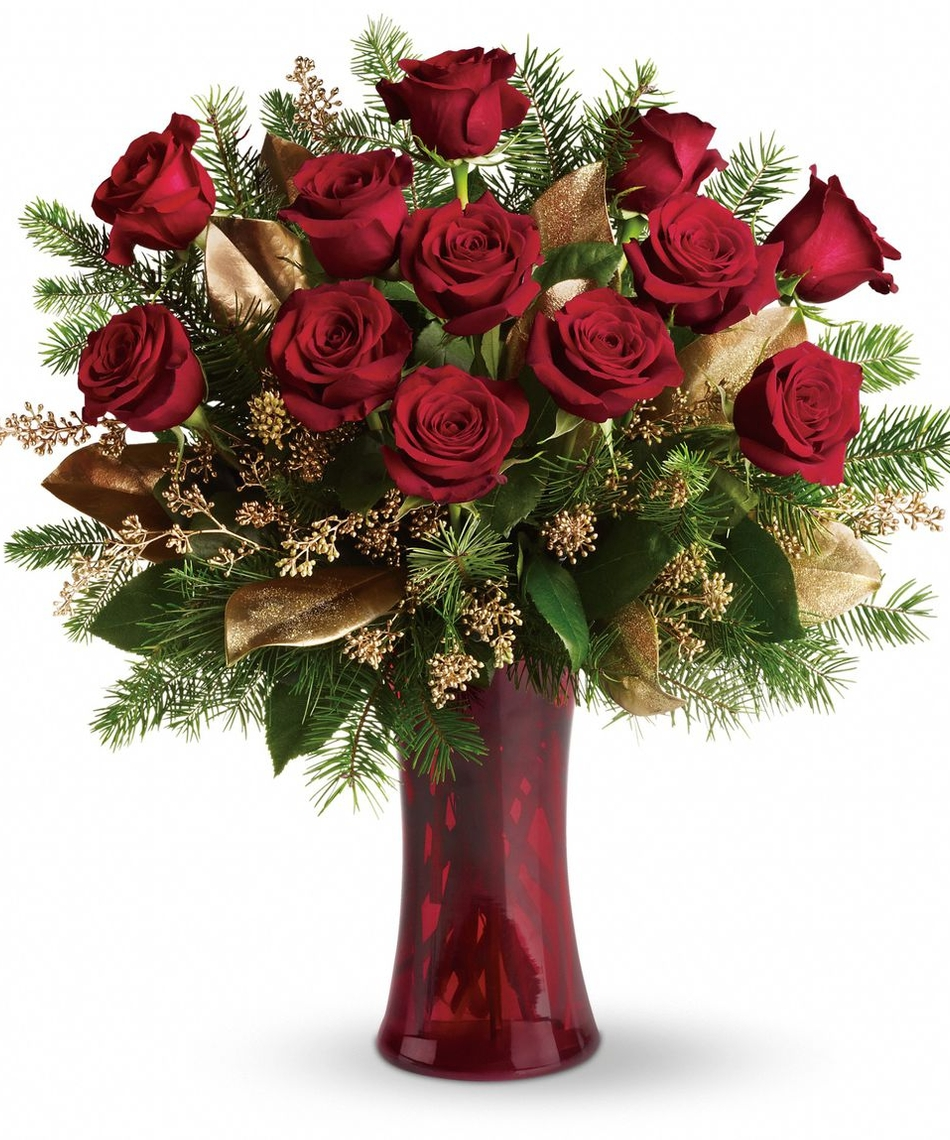 Christmas arrangements a dozen roses