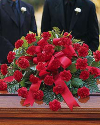 Casket Flowers Red Carnations